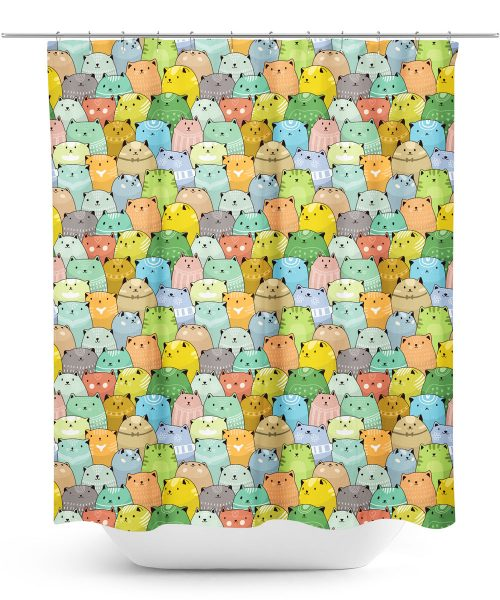 Colorful cats pattern shower curtain