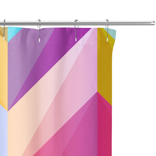colorful chevron shower curtain close up image