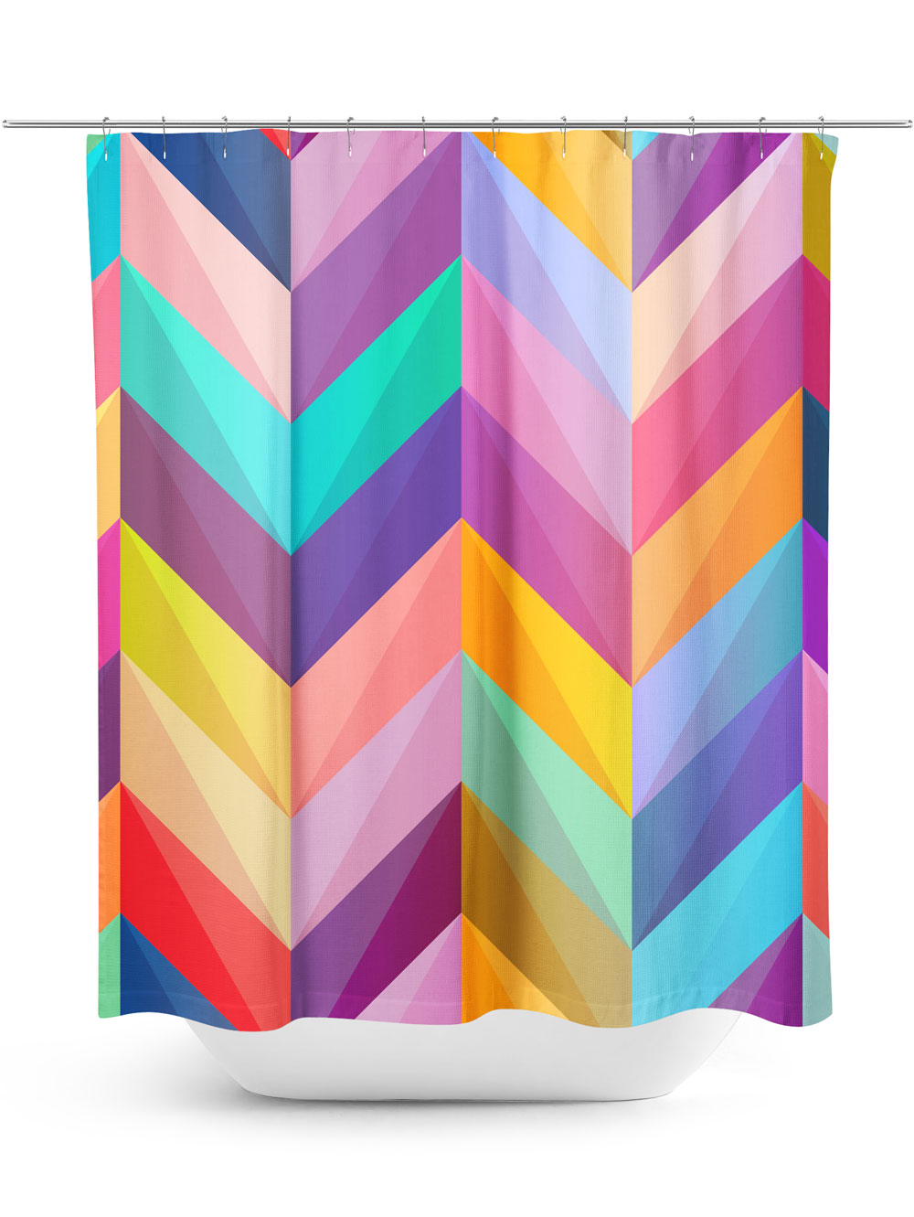 Bright Chevron Pattern Shower Curtain