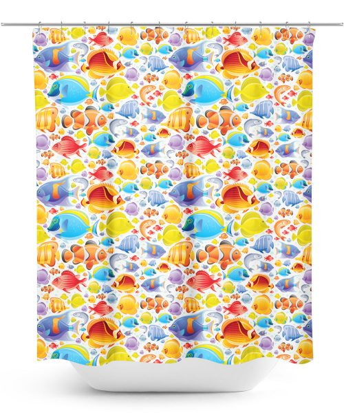 Digital Graphic Colorful Fish Pattern Shower Curtain