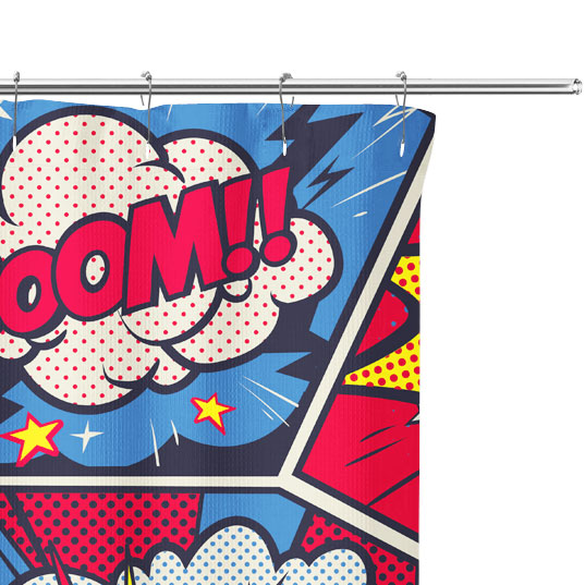 comic actions shower curtain close up image