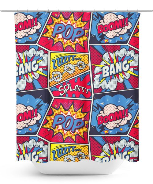 Comic Book Action Graphic Shower Curtain