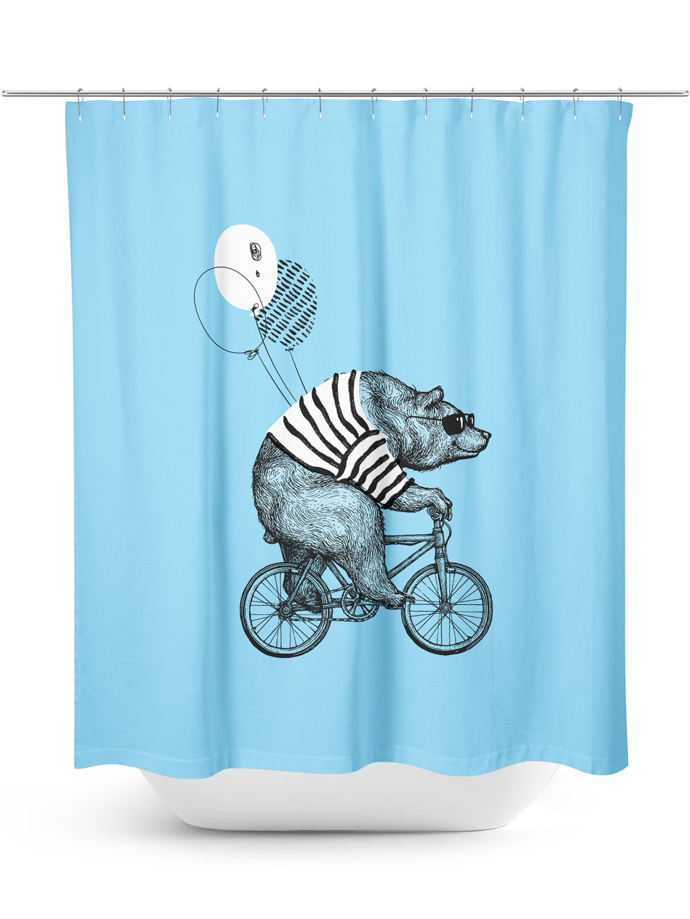 Bear riding bicycle blue shower curtain
