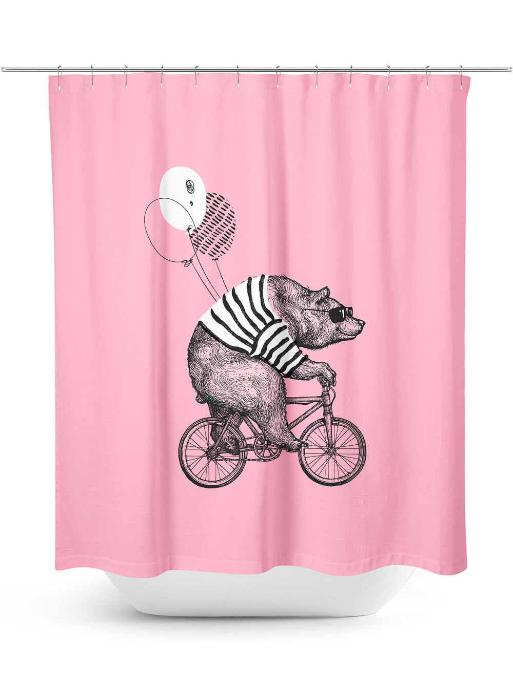 Bear riding bicycle on pink shower curtain