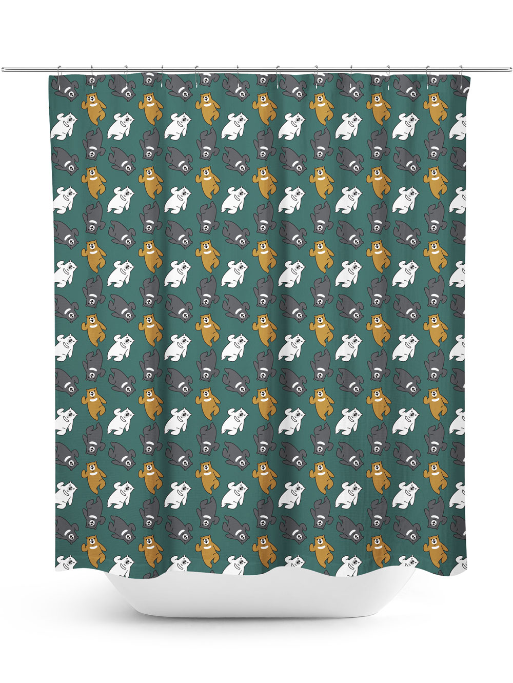 Dark green shower curtain with cartoon bears dancing