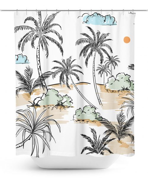 Desert Island Sketch Shower Curtain