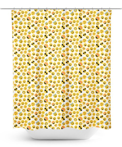 emoji graphic repeating pattern shower curtain