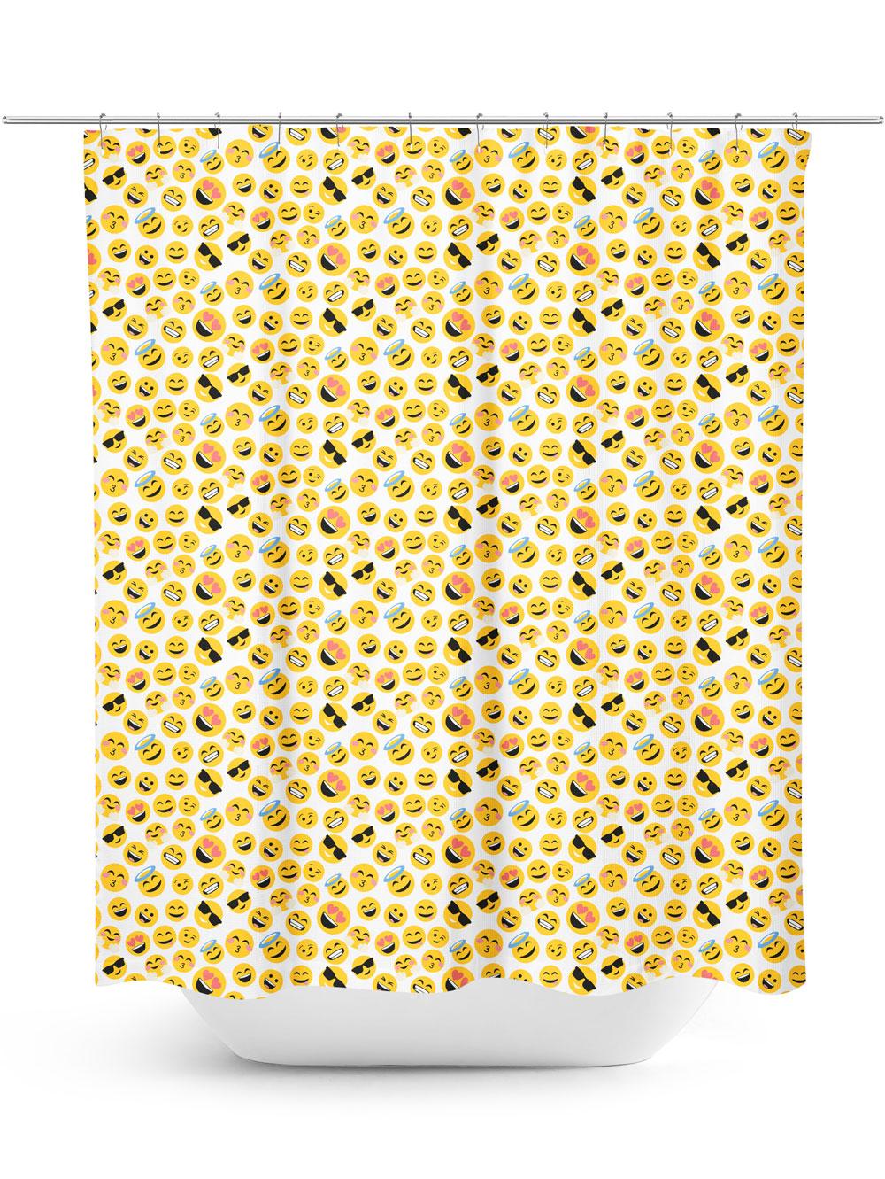 emoji graphic repeating pattern shower curtain