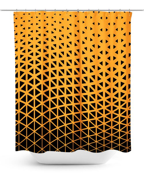 Gold and Black Geometric Pattern Shower Curtain