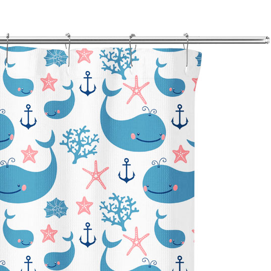 Cartoon Whales Pattern Shower Curtain Close Up