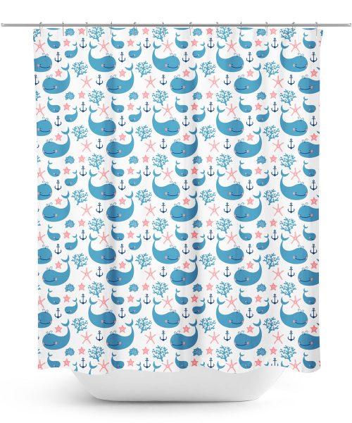Cartoon Whales Print Shower Curtain