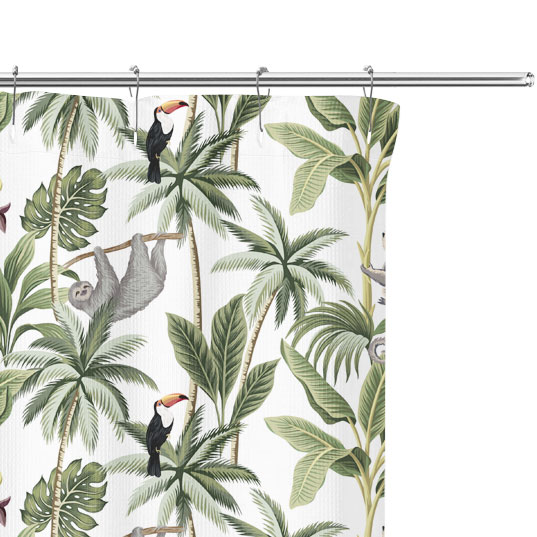 Jungle Palm Tree Shower Curtain close up
