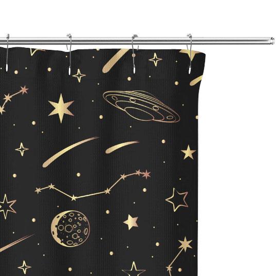 Cartoon illustration of Night Sky on Shower Curtain Close up