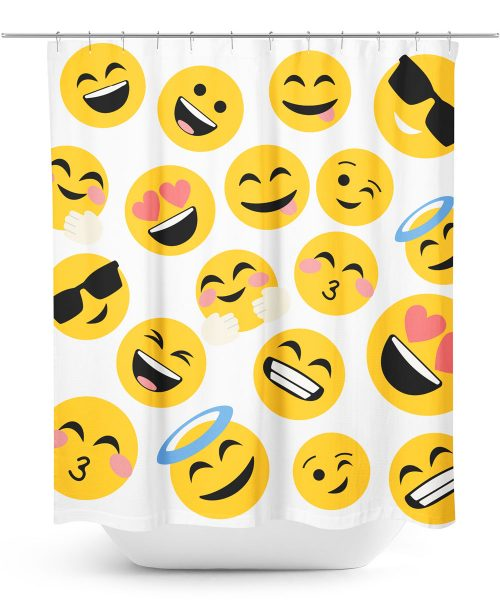 Oversize Emoji Print Shower Curtain