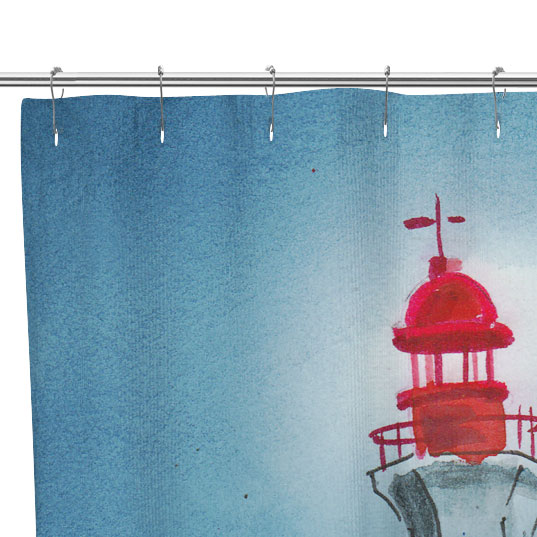 lighthouse painting shower curtain