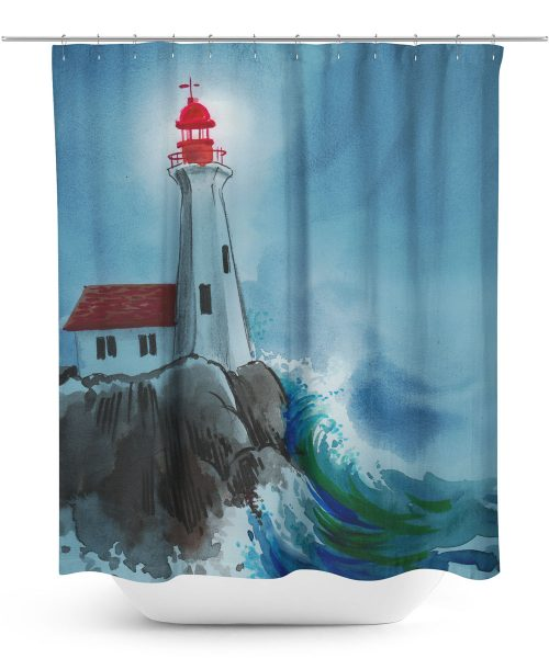 Digital Art Lighthouse Shower Curtain