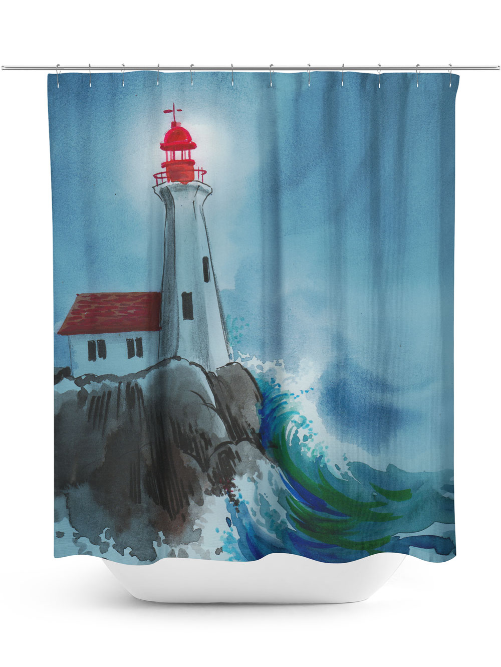 Digital Art Lighthouse Shower Curtain