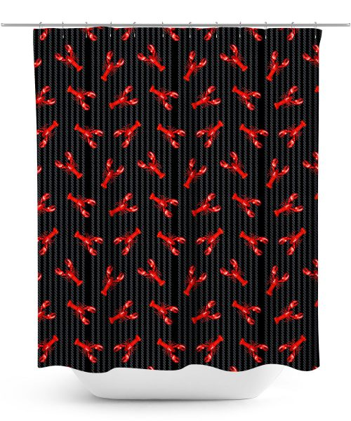 Red Lobster Pattern on Black Pinstripe Shower Curtain