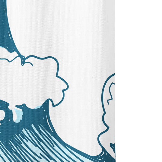 Ocean Wave Graphic Shower Curtain Close up