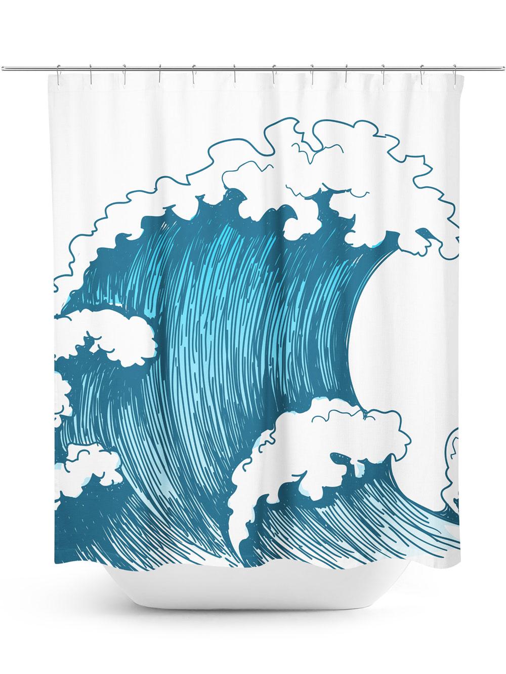 Ocean Wave Graphic Shower Curtain