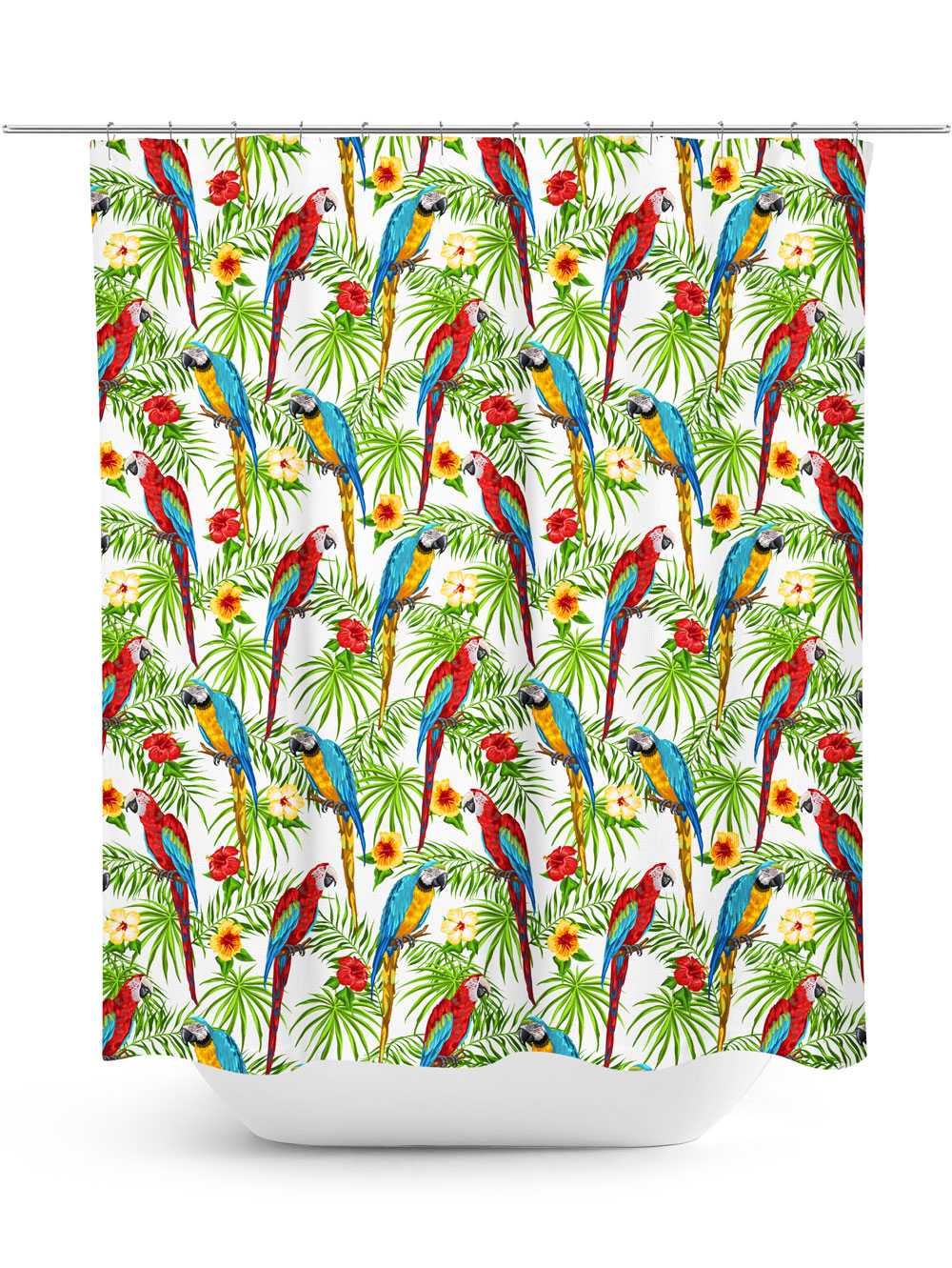 brightly color parrots pattern shower curtain