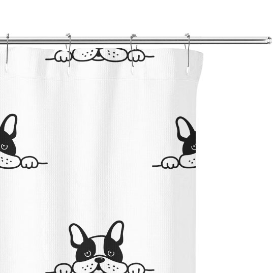 Curious Terrier Puppy Graphic Pattern Shower Curtain close up