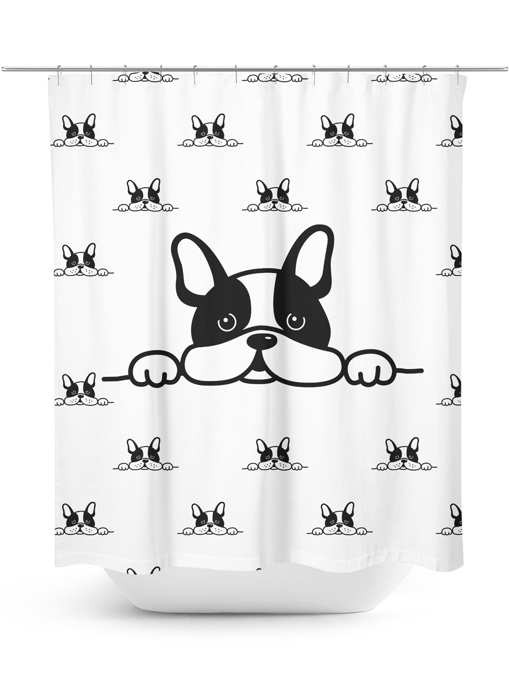 Curious Terrier Puppy Graphic Pattern Shower Curtain