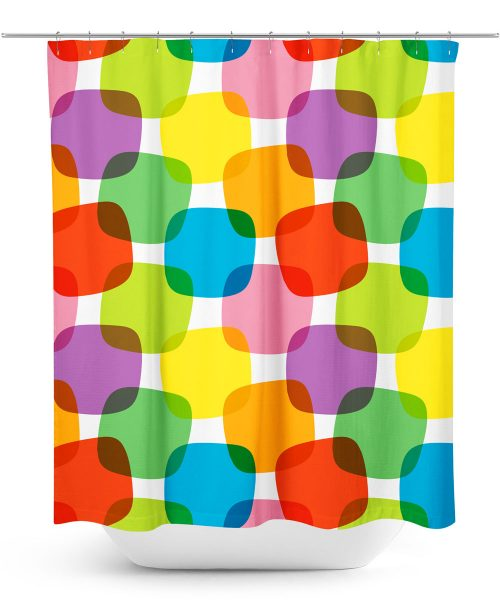 Retro Color Blocks Shower Curtain