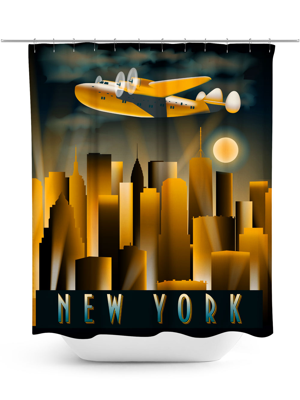 Vintage New York Travel Poster Shower Curtain