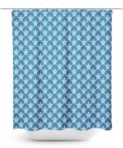 Blue Sea Turtle Pattern Shower Curtain