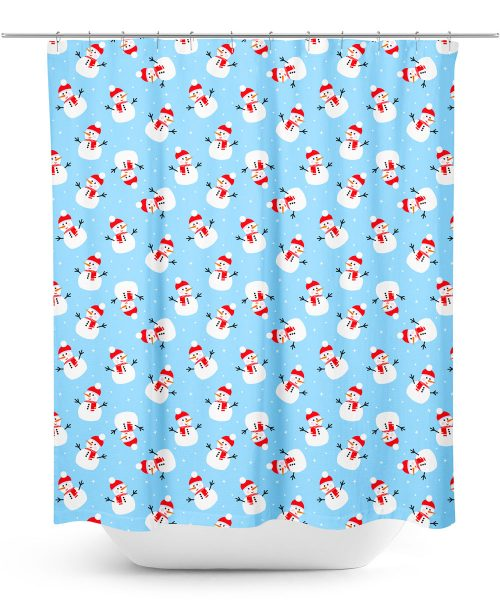 Snowman Pattern Shower Curtain
