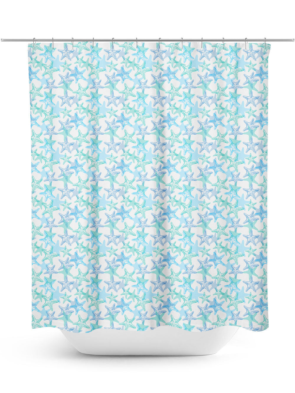 Blue Starfish Pattern Shower Curtain
