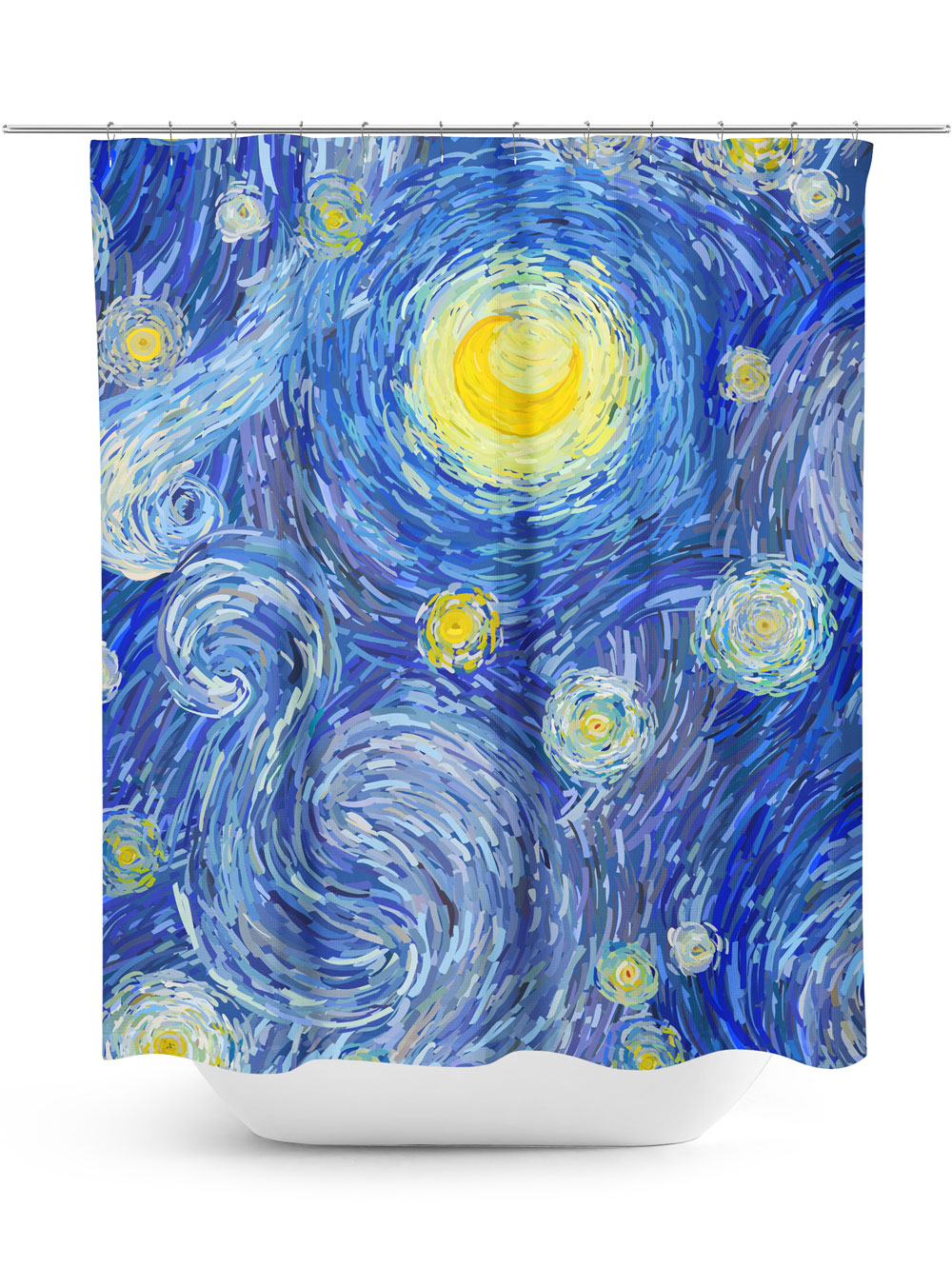 Impressionist style night sky shower curtain