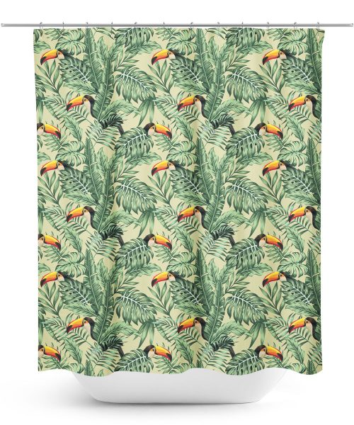 Toucan and Palm Frond Pattern Shower Curtain